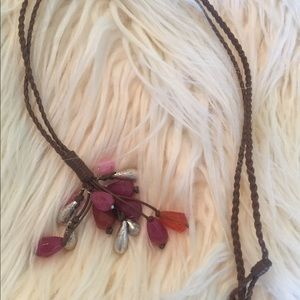 J. Jill Jewelry - J. Jill Leather and Stone Necklace NWOT